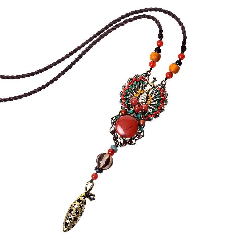 Vintage collier femmes accessoires longue chaîne en céramique colliers pendentifs perles à la main bijoux cadeau femme bijoux