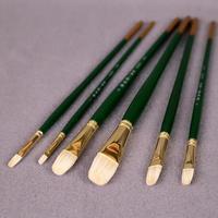 6Pcs Set Qishuixuan Flat Round Head Oil Paint Brush Fine Bristle Hair Wooden Handle Gouache Acrylics