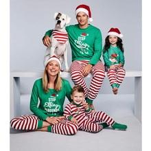 Family Christmas Pajamas Set Striped Pyjamas Look Matching Clothes E0111