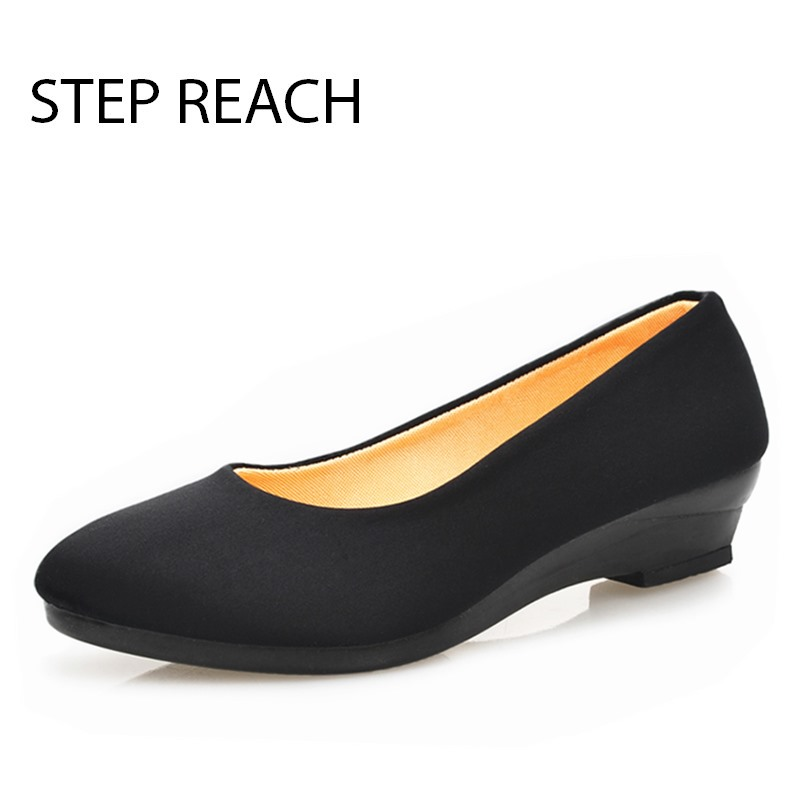 STEPREACH Brand shoes woman Low heels Rubber canvas Round Toe comfortable Solid pumps slip-on Women Ladies Pumps sapato feminino guvoosm ladies med heels pumps women black casual sapato feminino rubber slip on shoes woman round toe big small size 31 43