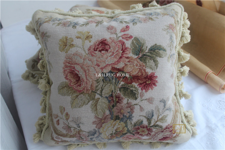 FREE SHIPPING 15K 16X16 Needlepoint pillow, handknotted woolen cushion with floral designs no insertionFREE SHIPPING 15K 16X16 Needlepoint pillow, handknotted woolen cushion with floral designs no insertion