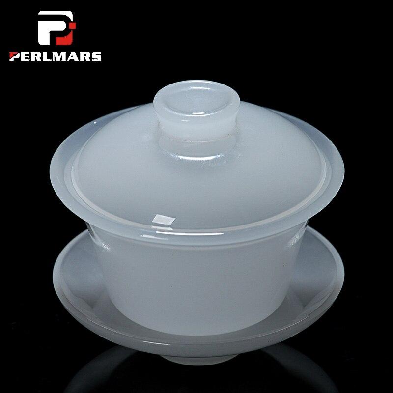 130 ml Boutique Blanc Jade Porcelaine Gaiwan Chinois Sain Kung Fu thé Ensemble Thé En Céramique Soupière Tasse De Thé Master Cup Couverture bol