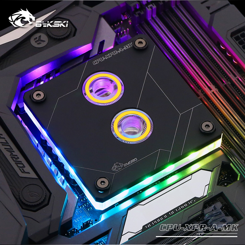 Bykski CPU Water Block use for INTEL LGA1150 1151 1155 1156 2011 <font><b>2066</b></font> X99 I7 RGB Light Support 5V 3PIN GND Header to Motherboard image