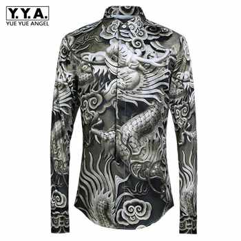 2019 New Chinese Dragon Printing Men Shirts Fashion Casual Luxury Shirts Male Long Sleeve Slim Fit High Quality Tops Streetwear - DISCOUNT ITEM  44% OFF All Category