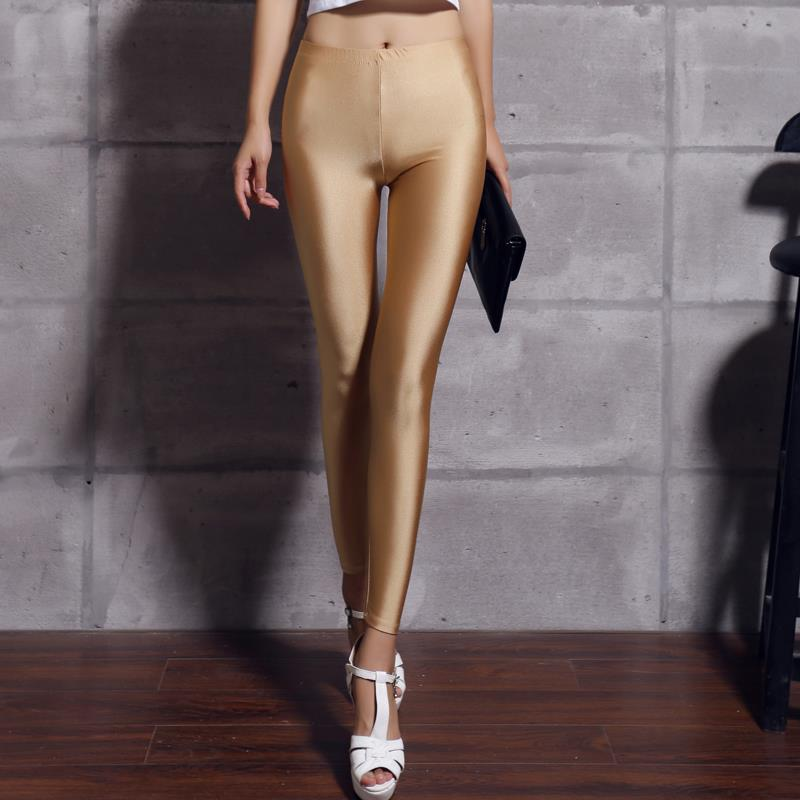 Women Solid Color Fluorescent Shiny Pant Leggings Spandex Shinny Elasticity Casual Trousers 49