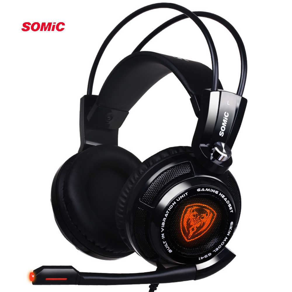 Somic G941 USB 7,1 Virtual Surround Sound Gaming auriculares con micrófono estéreo bajo vibración para PC PS4 Gamer