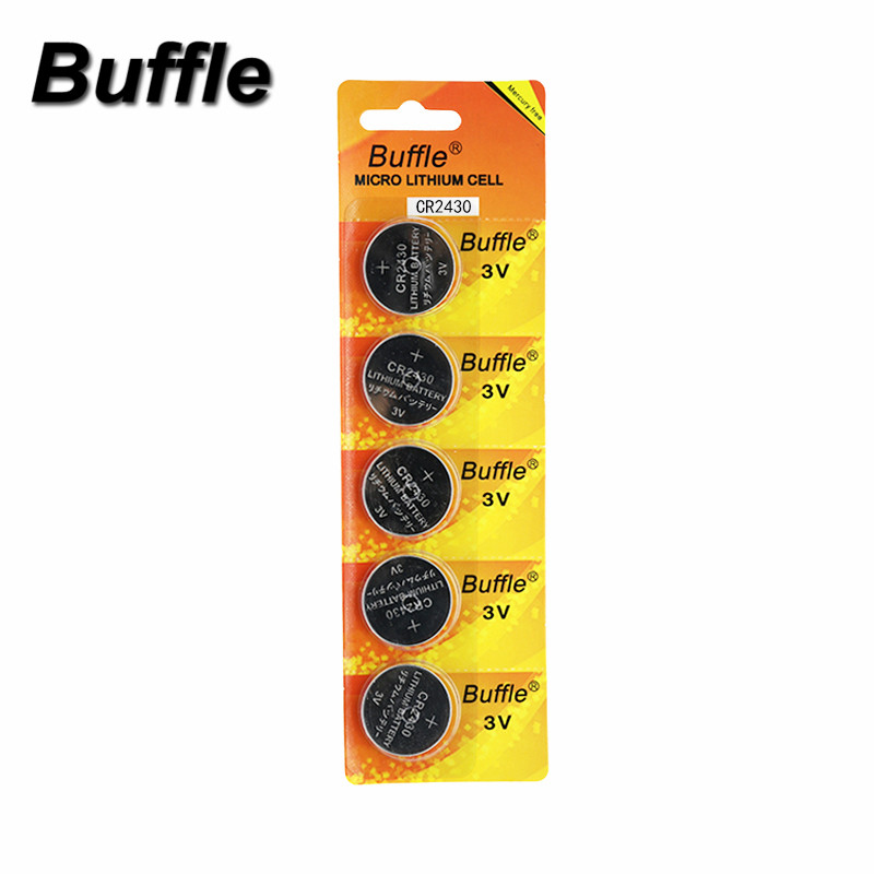 Buffle 5pcs/pack CR2430 DL2430 2430 3V Button Battery For Watch Toy Headphone