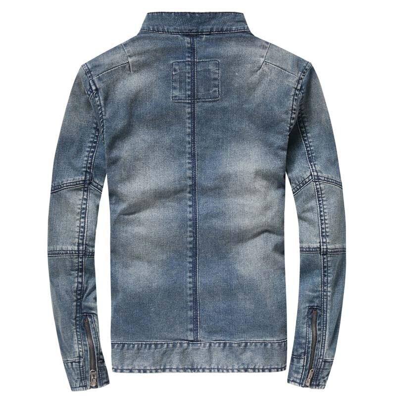 Осенняя Модная Джинсовая куртка с капюшоном, мужская хлопковая джинсовая куртка, Повседневная тонкая эластичная Ретро винтажная куртка, Му... - 2