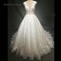 Ivory Royal Luxury Ball Gown Embroidery Wedding Dresses 2018 with Cathedral Train Beaded Church Bridal Gowns vestido de noiva