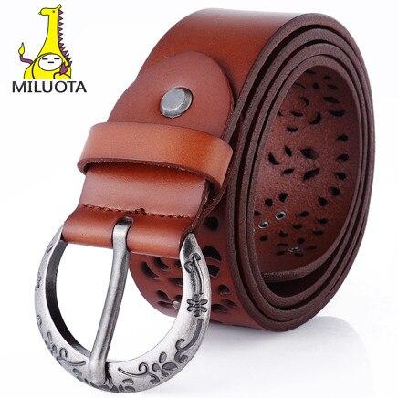 [ MILUOTA ] 2014 100% из натуральной кожи винтаж ремни для женская мода металлический штырь пряжка пояса абсолютно cintos femininos LD4757