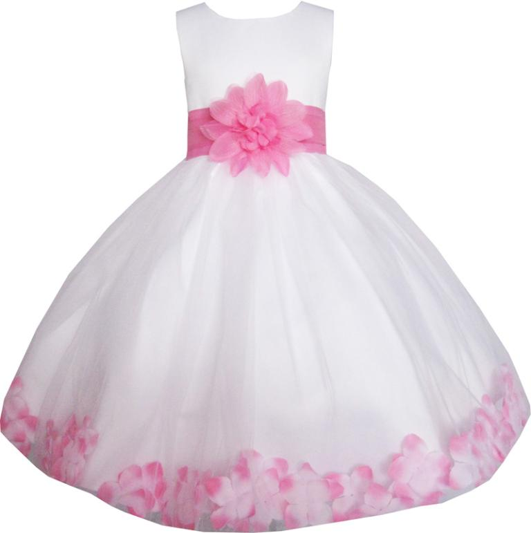 Girls Dress White Pink Flower Wedding Bridesmaid Christmas Holiday Kids 2017 Summer Princess Party Dresses Clothes Size 2-14
