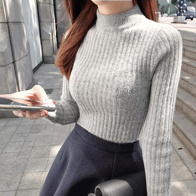 Autumn winter knit sheath long sleeve turtleneck sweater women ...