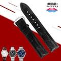 Auto cuero genuino 20mm hebilla de implementación de cierre venda de reloj de la correa para omega seamaster planet-océano speedmaster reloj + herramientas