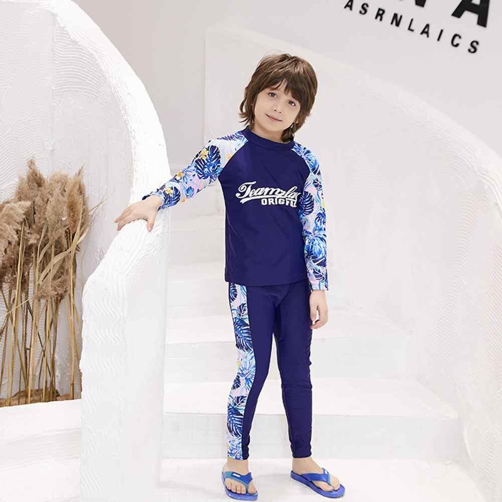 Çocuk Erkek Kız Hızlı Kuru Güneş Koruyucu Wetsuit Mayo 3 adet Uzun Kollu Üstleri Pantolon Şort Mayo Seti Sıcak Tutmak dalgıç kıyafeti