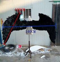 Большой моделирования черный косплей крылья полиэтилена и меха шоу крылья модель куклы около 140 х 100 см