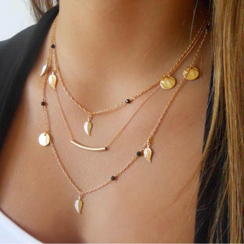Multilayer Necklaces Women Simple Necklace Pendant Ornament Wedding Jewelry Fashion Minimalist Bijoux Simulated Pearls