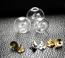 100sets 14mm-18mm Mini Lege Glazen Bal Flessen Hanger Charms Flesjes Wens Flessen Clear globe bubble crystal orbs w/gratis caps(China)