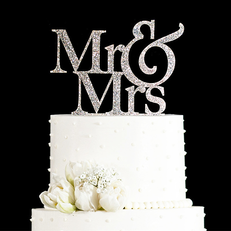 Buy glitter golden silver mr and mrs cake for Where can i buy wedding decorations