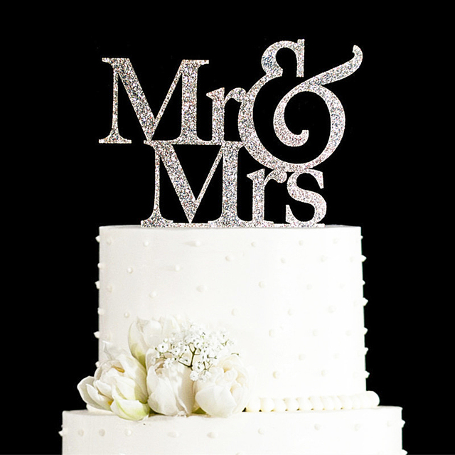 Beautiful Glitter Goldenu0026Silver Mr And Mrs Cake Topper Wedding Elegant Wedding  Decorations Wedding Cake Decorations Gifts Favors
