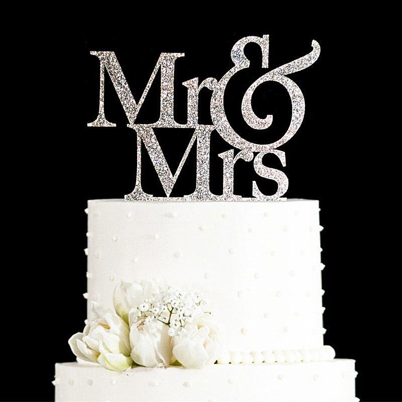 Sr. y Sra. Glitter Oro y Plata Regalos de Boda Decoraciones de la Boda, Decoraciones de la Torta de La Torta de boda Elegante Favorece Suministros