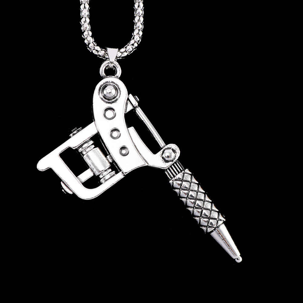 1pc Mini Tattoo Machine Necklace Pendant Punk Style Chain Necklace Jewelry Fashion Women Men Jewelry