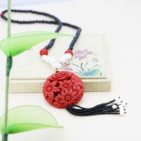 Accessories Series Red Zinnober Flower Lucky Pendant Hot Sale Freshwater Pearl Necklace Choker Sweater Chain Jewelry