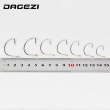 DAGEZI New 100pcs/lot black High quality Steel Fishing Hooks  7 Sizes super big black barbed bass hook