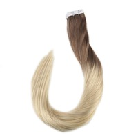 Full Shine Ombre Tape in Hair Extensions Color 6B Fading to 613 Full Head 50g Tape in Human Hair 100% Remy Seamless Tape Hair