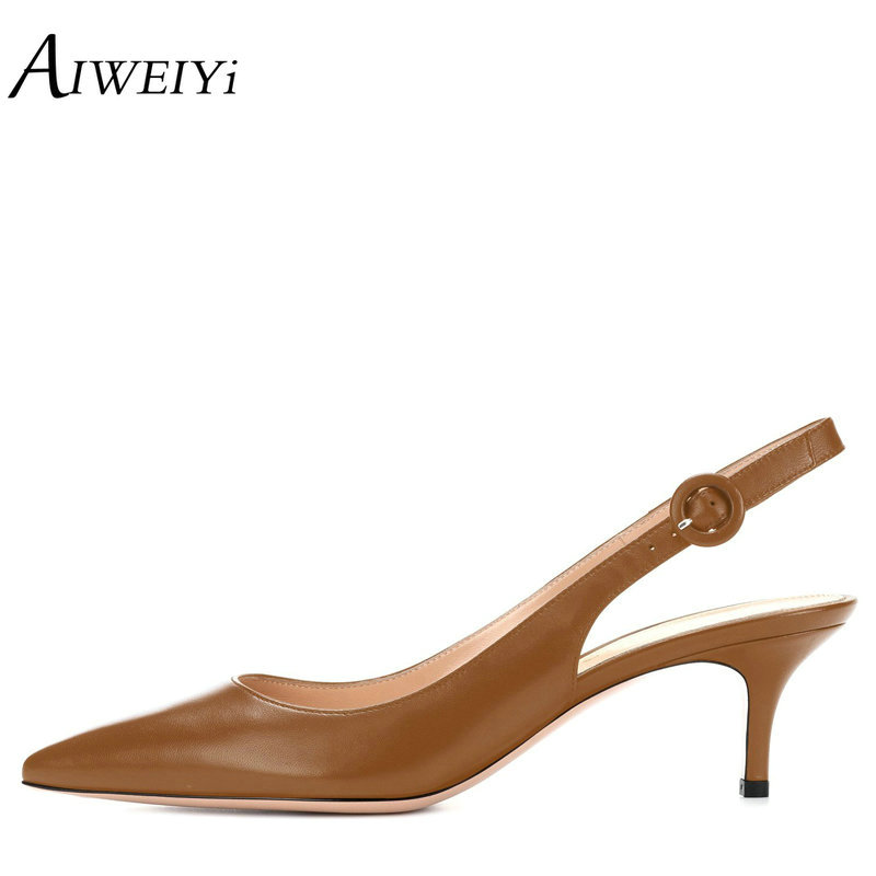 AIWEIYi Women High Heels Pointed toe Pumps Shoes Soft PU Leather Thin High Heels Dress Party Pumps Buckle Strap Platform Shoes aiweiyi super high heels platform pumps ankle buckle strap 16cm stiletto high heels ladies wedding party dress shoes for women