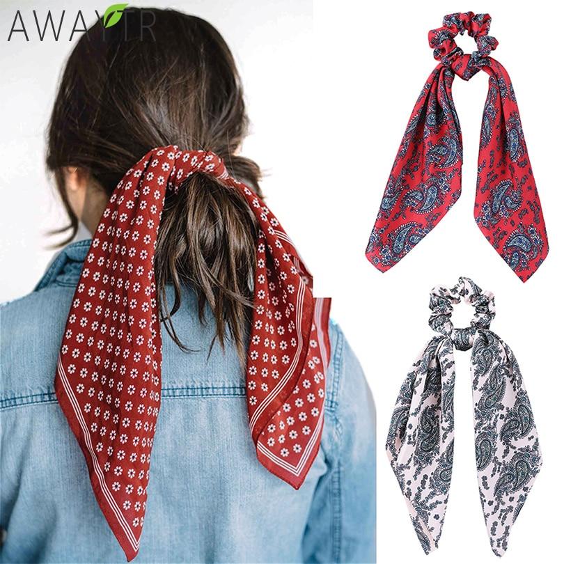 AWAYT Women Vintage Big Bow Elastic Knot Ribbon Scrunchies Print Fabric Hair Ties Hair Holder Satin Hairbands Hair Accessories