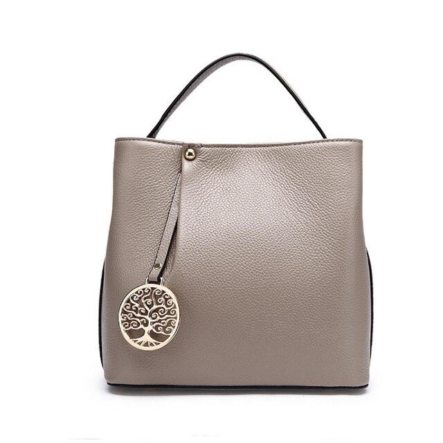 Well 2017 New Light Gray Genuine Leather Bag Women Simply Classic Handbag Female Crossbody
