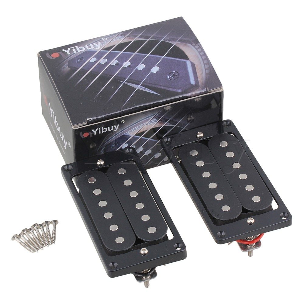Yibuy Black Guitar Neck And Bridge Humbucker Pickups & Surrounds