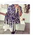 Lujo brand scarf women 2015, rayón bufanda, estampado de flores, Floral hijab, bandana, desigual, chales y bufandas