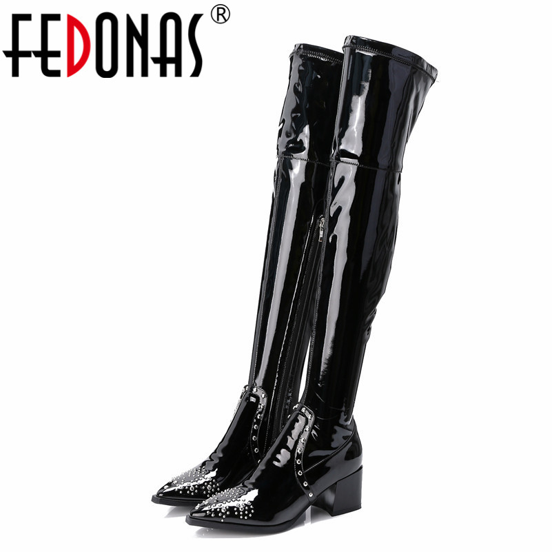FEDONAS Fashion Sexy Patent Leather Over The Knee High Boots For Women Autumn Winter Rivets Party Shoes Woman Tight High Boots цены онлайн