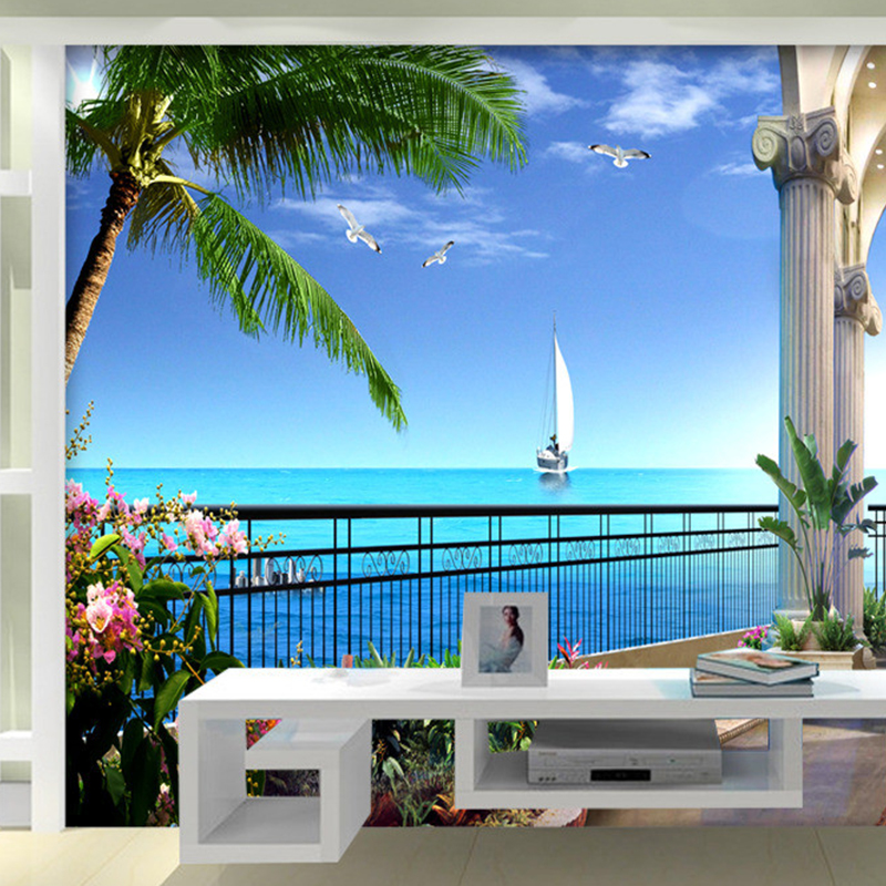 Fototapete Benutzerdefinierte 3D Stereo Meer Landschaft Balkon Wand ...