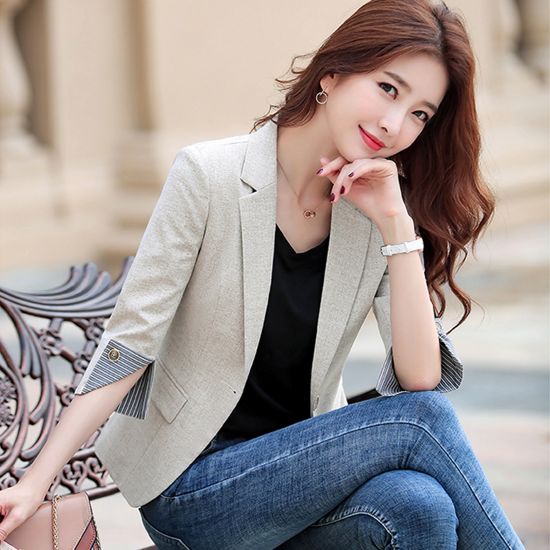 Women's Fashion Office Short Suit Jacket 2020 New Spring And Autumn Slim Career Seven-minute Sleeve Small Suit M-XXL