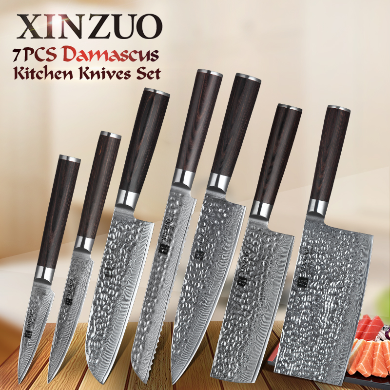 XINZUO 7 PCS מטבח סכין סט אביזרי יפן דמשק נירוסטה פירות קילוף שירות שף Santoku חיתוך לחם סכיני