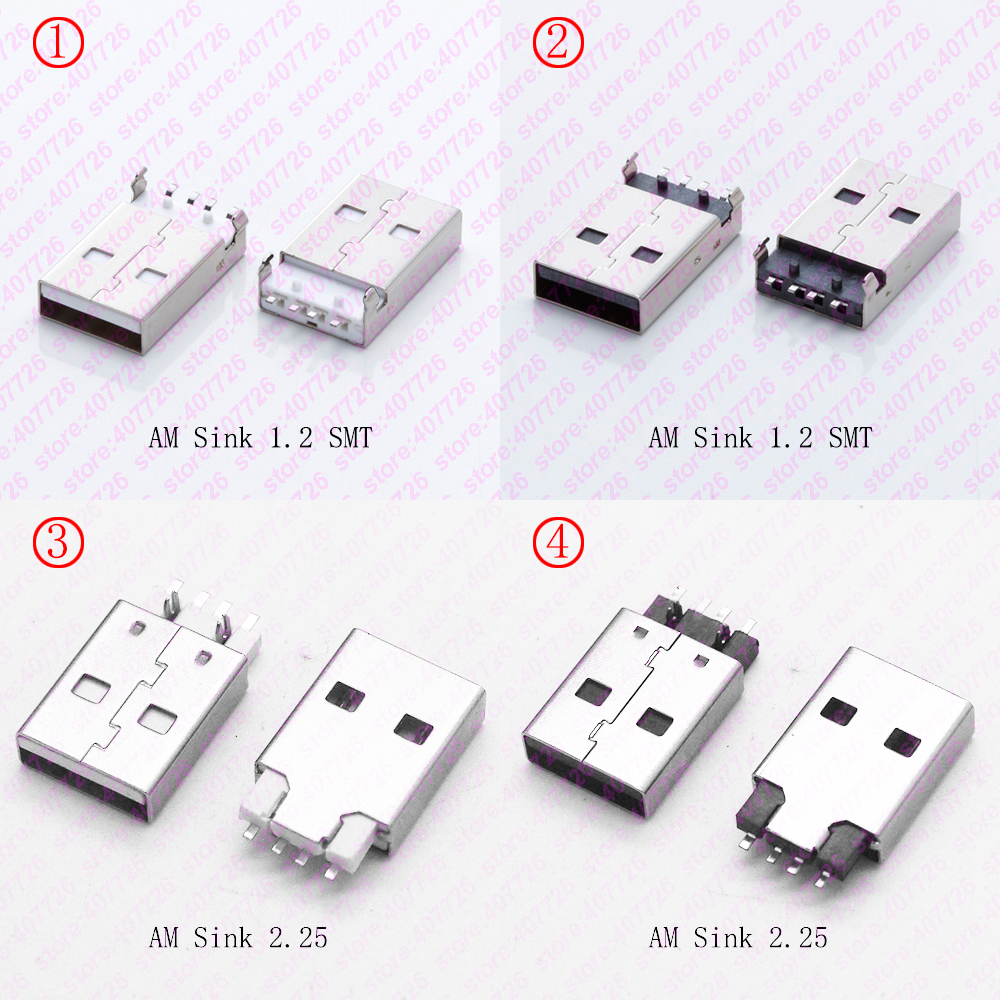 10PCS USB 2.0 A Type Male Plug Socket USB 2.0 Connector DIY USB 2.0 Jack 180 Degree AM Sink 1.2 SMT/AM Sink 2.25