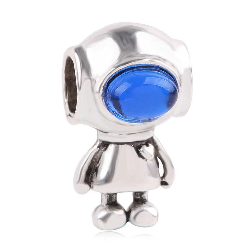 Ranqin Màu Bạc Phù Hợp Với Pandora DIY Đính Hạt Mặt Dây Chuyền Robot Tặng Charm 2019 Thời Trang Kiểu Lắc Tay Vòng Cổ Robot Mickey Đỏ Dứa