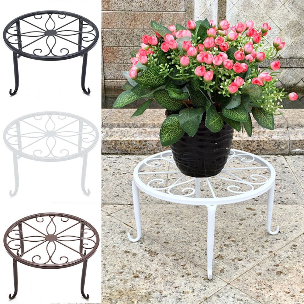 Iron Plant Stand Garden Decorative Planter Holder Flower Pot Shelf Rack Display whism storage basket rattan straw basket wicker folding flower pot seagrasss flower baskets garden planter pot de fleur suspendu