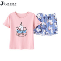 JRMISSLI Best Seller Cute Women S Pajama Sets Print 2 Pieces Set Crop Top Shorts Elastic