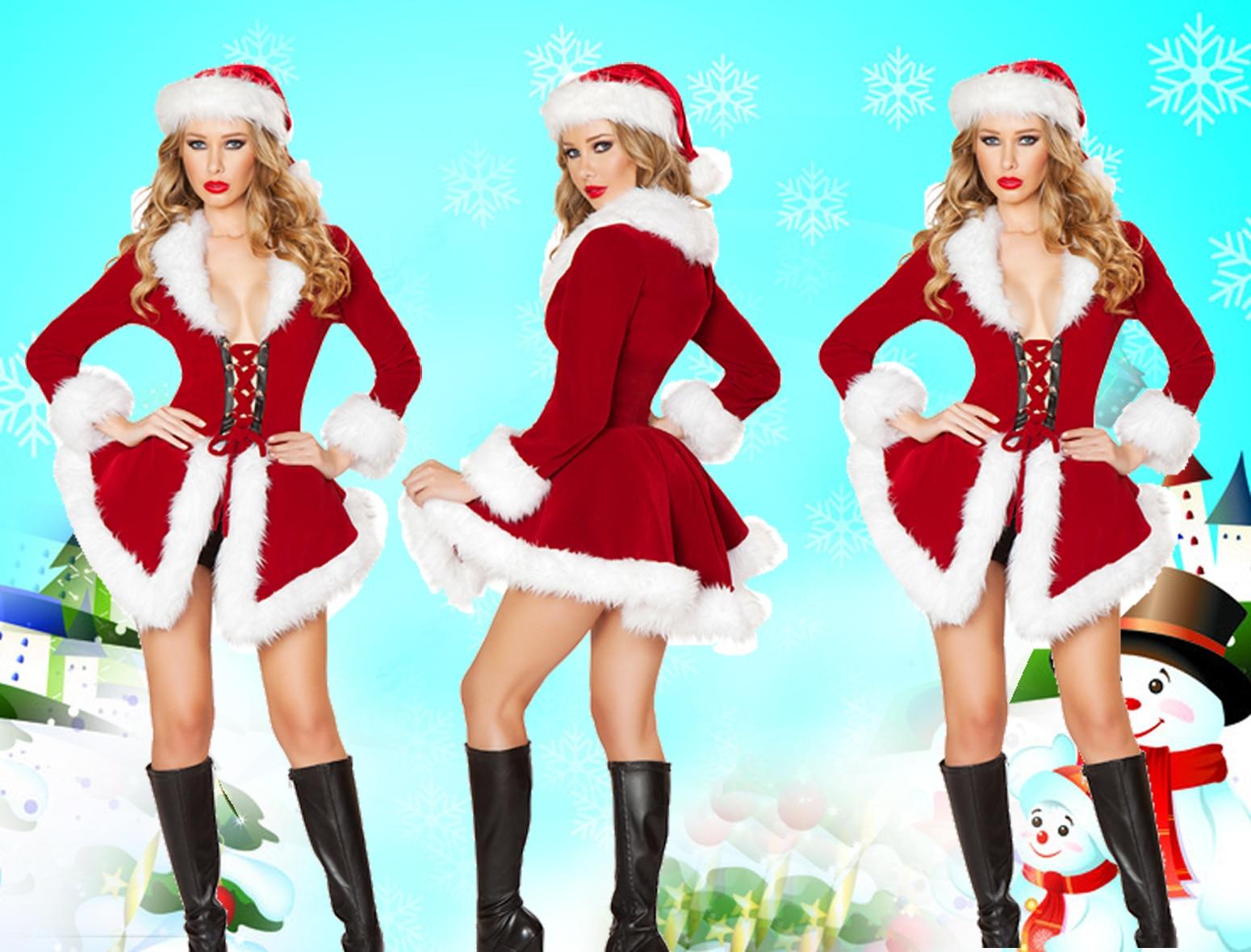 2018 New Sexy Velvet Santa costume Women\'s Sexy Christmas Fancy ...