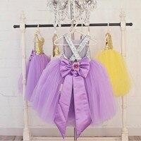 Seksi mor leylak çiçek kız elbise sparkly sequins tül balo kıyafeti açık geri ile bebek pageant parti doğum günü tutu elbise yay