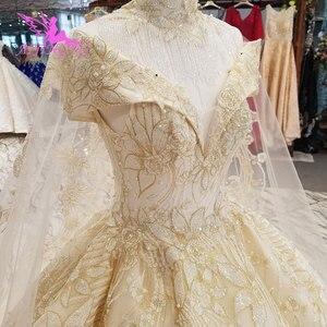 Image 4 - Aijingyu princesa vestidos de casamento sexy pêssego recepção glitter vestido de casamento curto