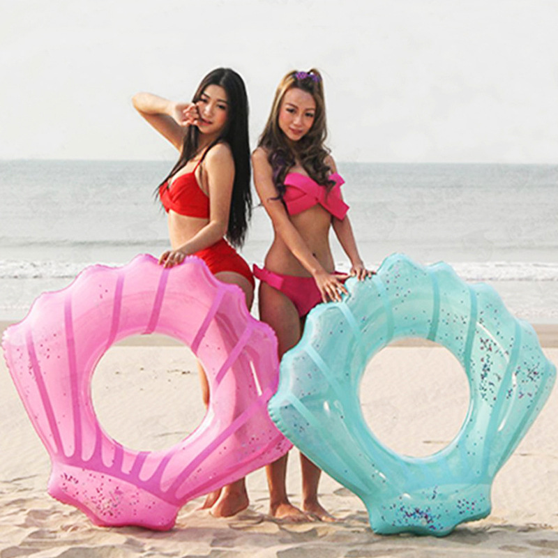 80cm/90cm/110cm Blue Pink Shell Swimming Ring With Glitters Inside Inflatable Pool Float Adult Children Summer Party Water Toys