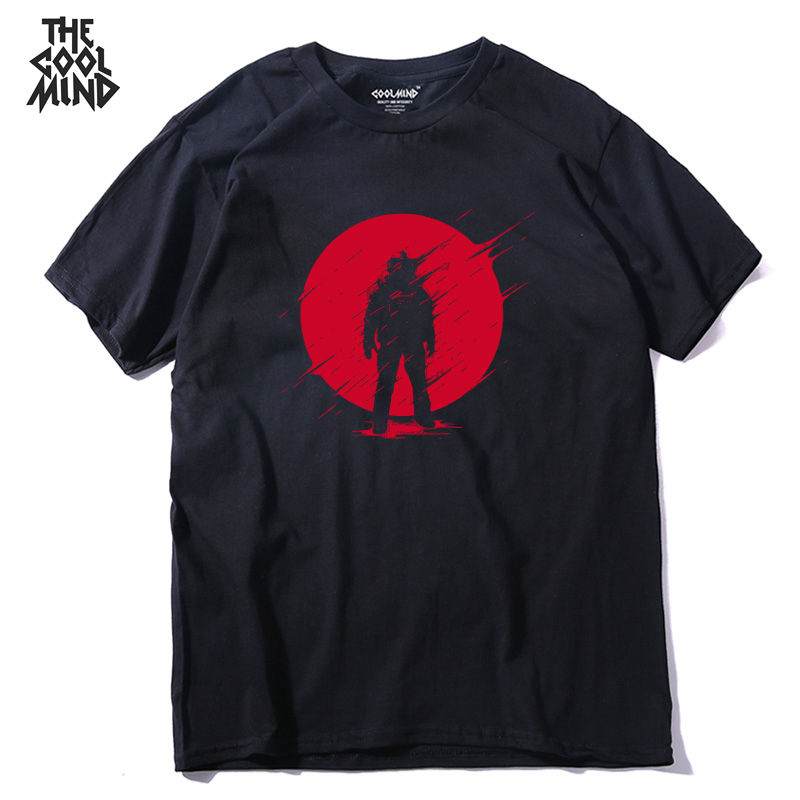 T-Shirt Casual Short-Sleeve COOLMIND Street-Style Fashion Summer 100%Cotton O-Neck QI0237A