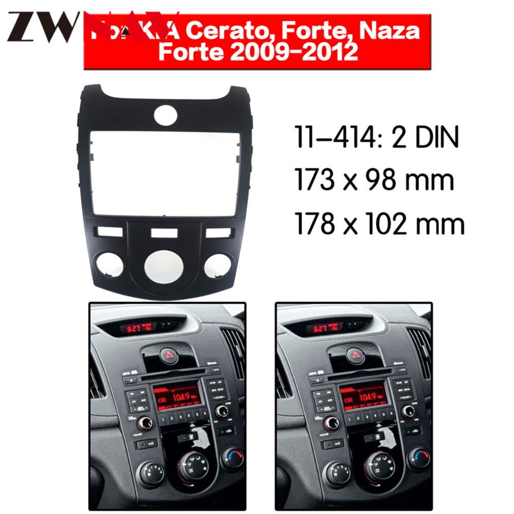 Car DVD Player frame For 2009 2012 KIA FORTE KIA Cerato 2DIN Auto AC Black LHD