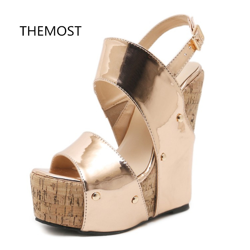 THEMOST2018 new summer fashion Europe and the United States Waterproof platform Sexy Wedges fish mouth belt buckle Woman shoes in the summer of 2016 the new wedge heels with fish in square mouth denim fashion sexy female cool shoes nightclubs