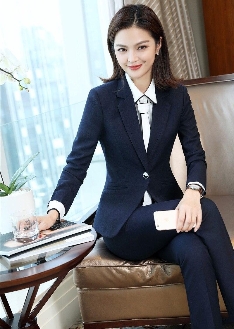 5d556a02c8c Pantalon Blazer Qualité Costume Femmes Ensemble Bleu Vêtements Travail Et  D affaires Styles Unform Haute Marine Costumes Tissu Dames De Bureau Veste  ...