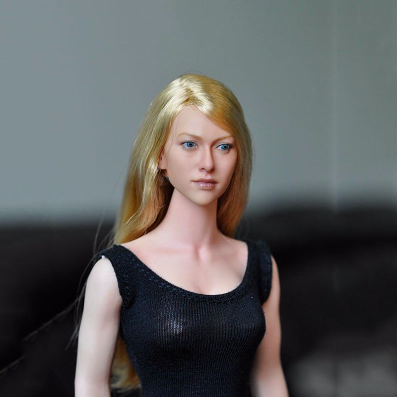 Popular 1/6 Long Hair Lovely Girl Female Head Sculpts Model Toys For 12 Female Action Figure Body Accessory 1 6 popular km 38 female head sculpt model with black hair for 12 female action figure body doll toys